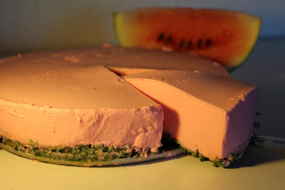 Vandmelon-cheesecake